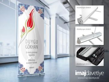 Karşılama ve hoşgeldiniz Panosu • Çantalı Roll-up sistemi • Osmanlı lale desenli 20