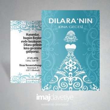 Turkuaz renginde beyaz gelin motifli kına davetiye kartı - 001