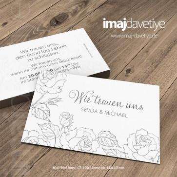 Beyaz renkte sade çiçek desenli Nikah töreni davetiyesi 070