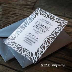 Acrylglas Einladung Leman weiß 18B