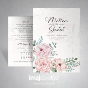Suluboya tarzında pembe çiçekli düğün veya nişan davetiyesi 033