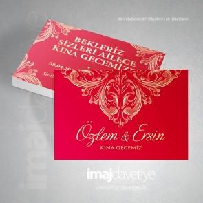 Altın dantel süslemeli kırmızi kına davetiye kartı 18