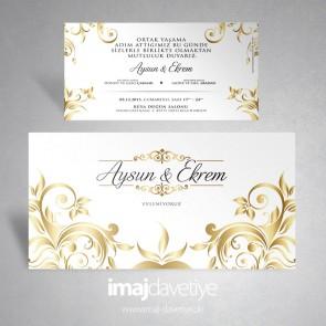 Beyaz renkte altın süslemeli düğün veya nişan davetiyesi 121
