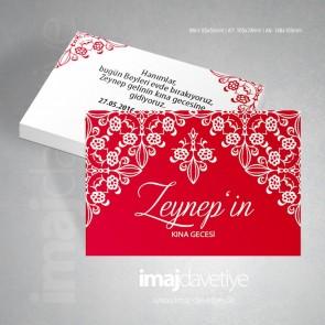 Kırmızı renkte beyaz dantel süslü kına gecesi için davetiye kartları 09
