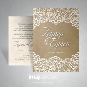 Naturel kuşe kağıt üzeri beyaz dantelli düğün/nişan davetiyesi 021