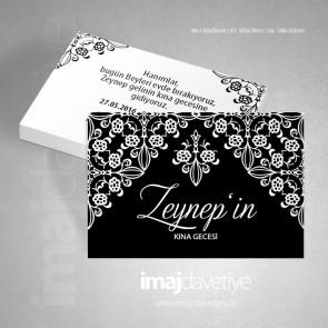 Siyah renkte beyaz dantel süslü kına gecesi için davetiye kartı 09