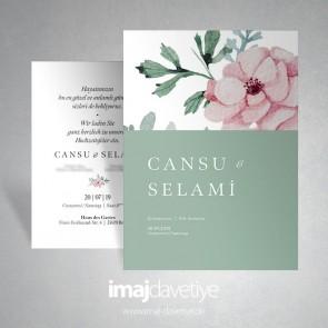 Suluboya tarzında pembe çiçekli düğün davetiyesi - yeşil 066