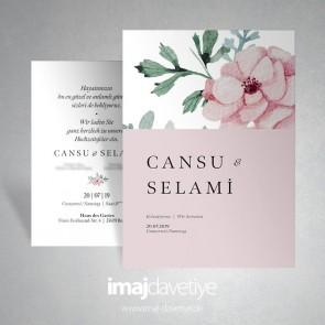 Suluboya tarzında pembe çiçekli düğün davetiyesi - pembe 066