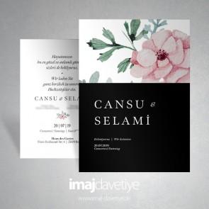 Suluboya tarzında pembe çiçekli düğün davetiyesi - siyah 066