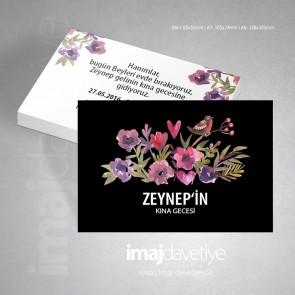 Değişik renklerde çiçek, kalp ve kuş motifli siyah renkte kına kartı 07