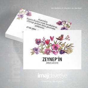 Değişik renklerde çiçek, kalp ve kuş motifli beyaz kına kartı 07