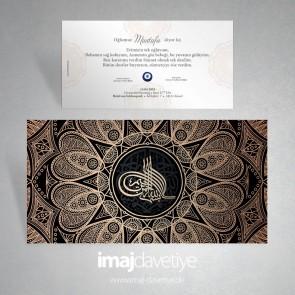 Etrafı oryantal süslemeli besmeleli Tuğralı Sünnet düğünü davetiyesi 09