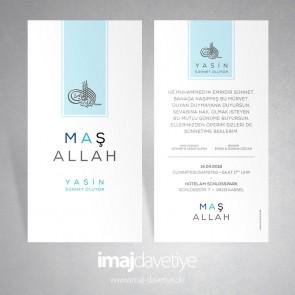Tuğra ve Maşallah yazılı modern sünnet düğünü için davetiye kartı 11