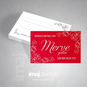 Kına için kırmızı renkte dilek kartı
