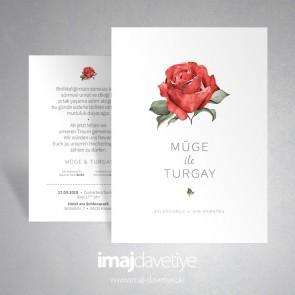 Kırmızı güllü sade beyaz düğün veya nişan davetiye kartı 037
