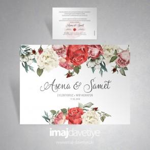 Karışık güllerle süslü beyaz düğün veya nişan davetiye kartı 035