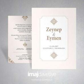 Pastel renkte çerçeve içinde oryantal tarzda sade düğün veya nişan davetiyesi 022 B