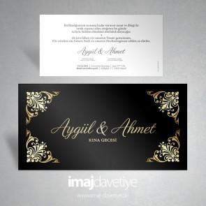 Altın desenli siyah düğün veya nişan davetiyesi 061