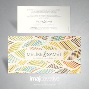 Renkli desenli düğün veya nişan davetiyesi 060