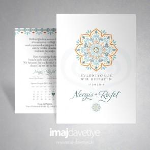 Renkli oryantal desenlerle süslü düğün davetiyesi 054