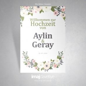 Farklı çiçek ve yapraklı çelenk motifli beyaz karşılama afişi - 03