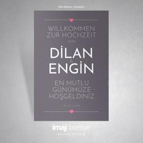 Düğün veya Kına için Gri-Boz zemin üzeri sade küçük kalpli karşılama afişi - 05