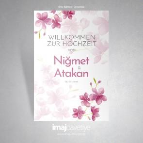 Düğün, nişan veya kına için suluboyalı ortanca çiçekli karşılama afişi - 06