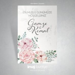 Suluboya çiçek motifli düğün veya kına için karşılama afişi - 08