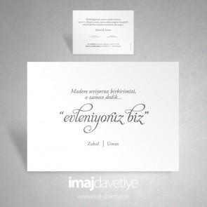 """Beyaz renkte """"evleniyoruz biz"""" düğün davetiyesi 051"""