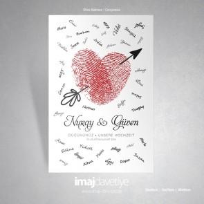 Kırmızı parmak izli Kalp motifli ve oklu düğün veya kına geceniz için misafir hatıra afişi - 03