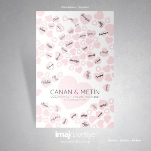 Pembe kalplerle süslü düğün veya kına geceniz için misafir hatıra afişi - 05