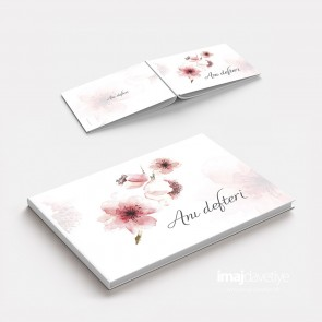 Düğün veya Kına geceniz için akvarel tarzda çiçekli Anı Defteri - GB04