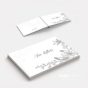 Düğün veya Kına geceniz için beyaz çiçek desenli Anı Defteri - GB02