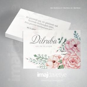 Pembe ve kayısı renklerinde suluboya çiçekli kına kartı davetiyesi 37