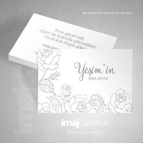 Beyaz renkte sade çiçek desenli kına gecesi davetiyesi 070