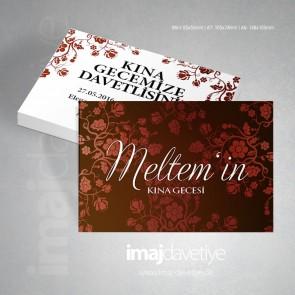 Koyu kırmızı renkte çiçek motifli kına davetiye kartı 20