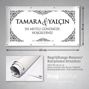 Düğün için siyah-beyaz kenar süslü PVC Karşılama Brandası 09