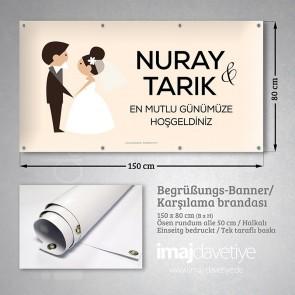 Gelin ve Damat karikatürlü düğün için PVC Karşılama Brandası 10