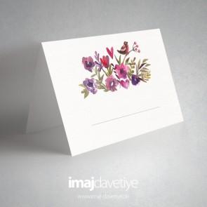 Renkli suluboya çiçekli Masa kartları - 01