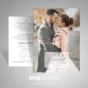 Kendi fotoğrafınız ile düğün veya nişan davetiye kartı 048