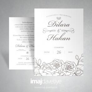 Gül desenli çizimli beyaz düğün davetiyesi  045
