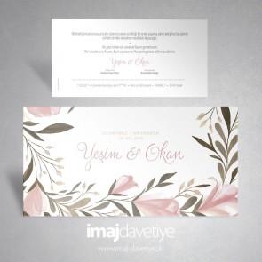 Suluboya tarzı pembe çiçekli düğün davetiyesi 044