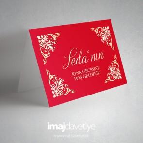 Kırmızı hoşgeldiniz masa kartı - 08