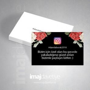 #hashtag instagram kartı siyah renkte gül çiçekli 09