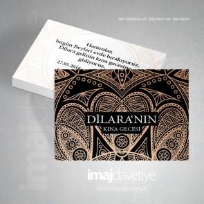 Bakır ve altın renkte oryantal süslemeli kına gecesi davetiye kartı 02