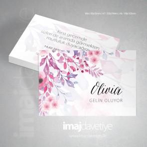 Mor-Pembe suluboya çiçekli Kına kartı 069