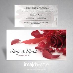 Kırmızı gül ve kurdeleli beyaz düğün veya nişan davetiyesi 164