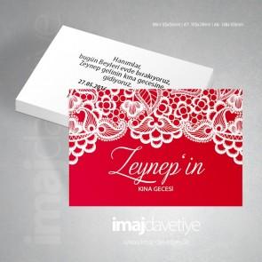 Beyaz dantelli kırmızı renkte kına gecesi davetiye kartı 08