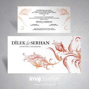 Kırmızı hat sanatı ile lale motifli beyaz düğün veya kına davetiyesi 156