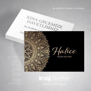 Siyah renkte altın süslemeli kına davetiye kartı - 34
